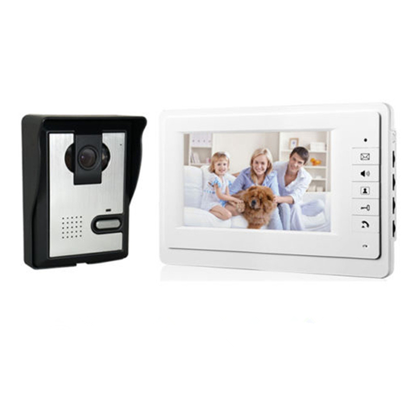 7 inch Color LCD Video Door Phone Intercom System Indoor Monitor 700TVL Outdoor IR Night Vision Doorbell Camera Doorphone Video 7 inch lcd color video door phone doorbell intercom entry system kit unlock night vision monitor and rainproof ir camera 3v1