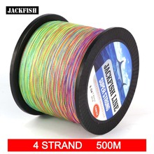 JACKFISH 4 strand 500M Mix Color PE Braided Fishing Line 10-80LB 10M/color Super Strong PE Fishing Line  with gift