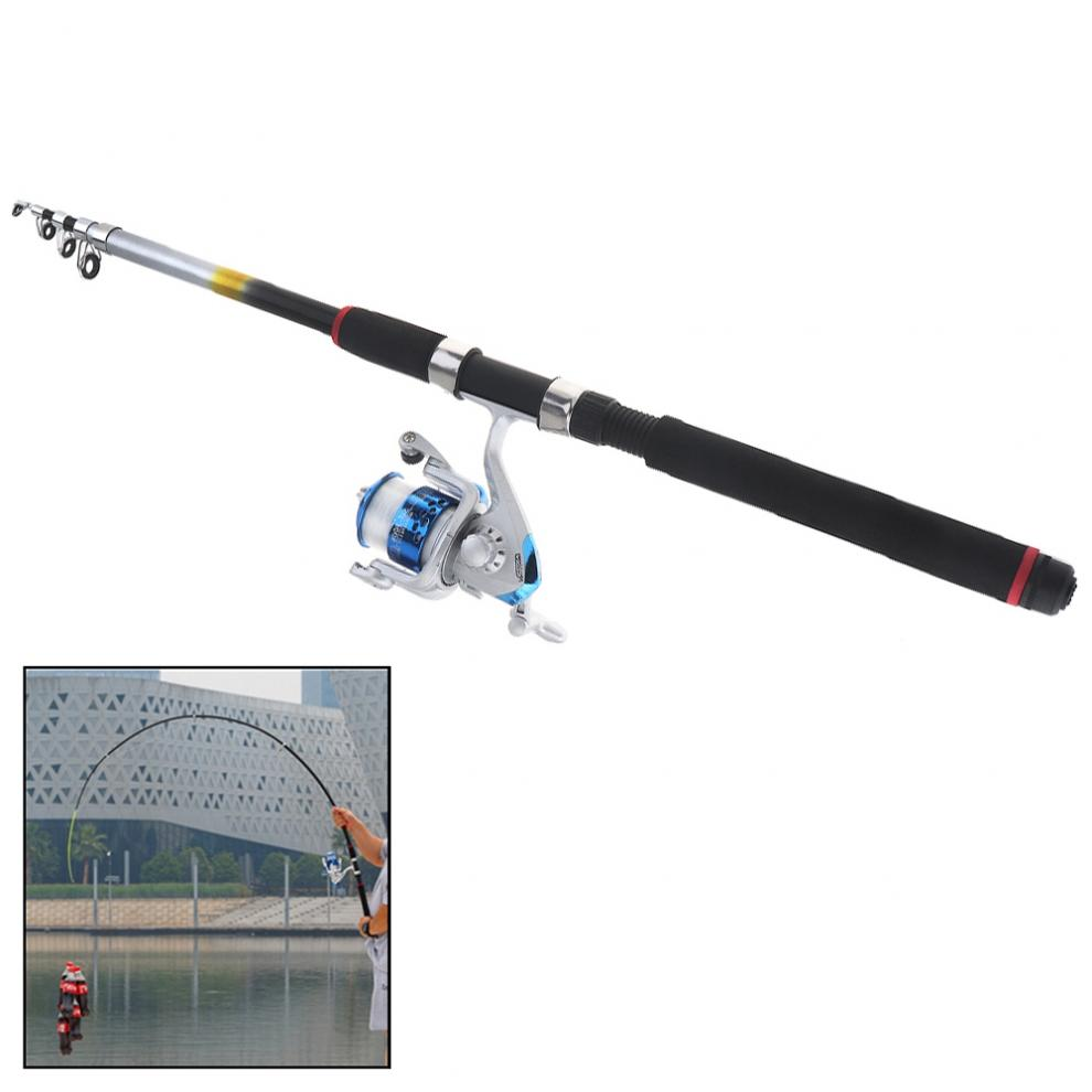 2 4m Fishing Rod Reel Line Combo Full Kits 3000 Series Spinning Reel Pole Set with Lures Float Hooks Beads Bell Lead Weight Etc in Fishing Rods from Sports Entertainment