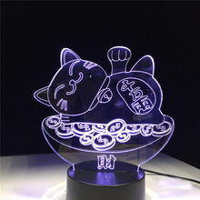 Led Night Light Lucky Cat Maneki Neko Figure 3d Lamp Home Decoration Child Holiday Gift for Kids Bedroom Novelty Lights