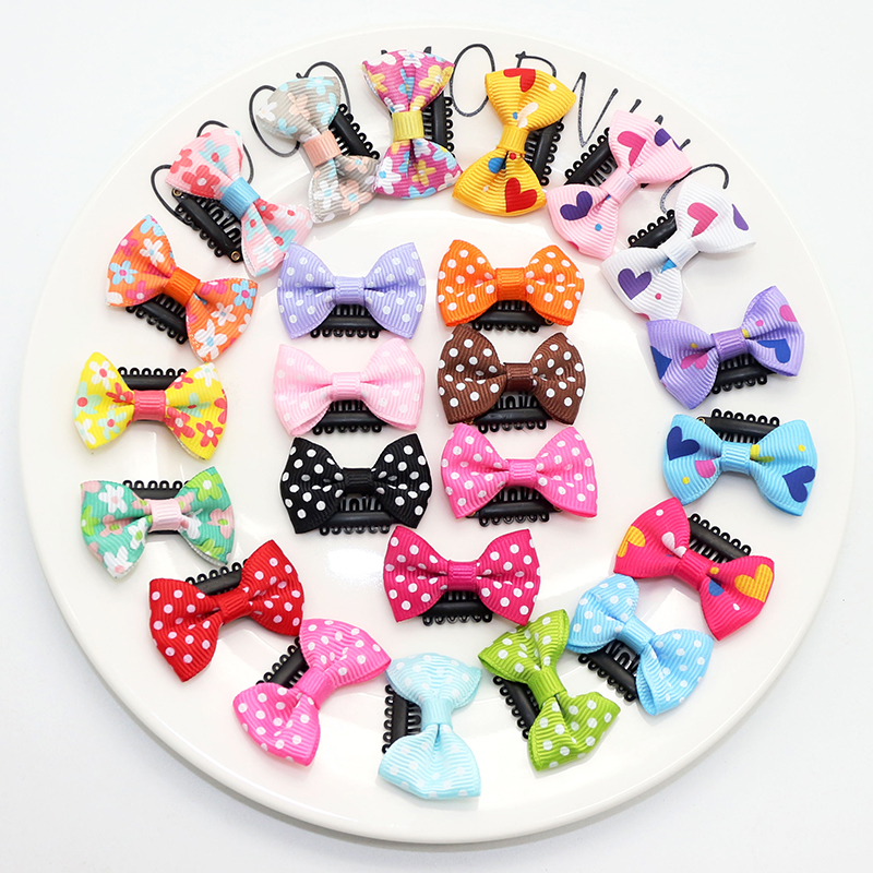 10 Pcs/ Lot Children Barrettes Bow Hairgrips Sweet Kids Solid Dot/ Stripe Wrapped Hairpins Hair Clips for Girls Hair accessories 1pack 10pcs hair clips barrettes girls cute hairpins colorful headbands for kids hairgrips hair accessories