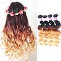 Halo Lady 7A Ombre Hair Brazilian Virgin Hair Body Wave 4Pcs 1B/4/27 Three Tone Ombre Brazilian Hair Weave Human Hair Extensions