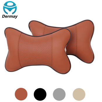 DERMAY New 2 Pcs/Pair PU Leather Comfortable Headrest Neck Pillow Car Auto Seat cover Head Neck Rest Cushion Headrest Pillow image