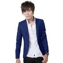 Горячие Продаж Нового Прибытия Весенняя Мода Сапфир Цвет Стильный Slim Fit мужская Пиджак Повседневная Бизнес Платье Пиджаки М-3XL размер(China (Mainland))