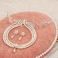 Corea del cristal tiara nupcial flores nupcial de lujo joyería nupcial collar de perlas de joyería de traje de tres piezas
