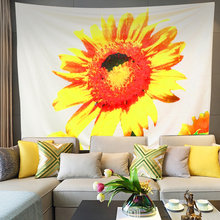 OHEART Soft Sunflower Tapestry Plant Flower Wall Hanging Home Decorations TV Backdrop Dorm Decor Living Room Bedroom Beach Towel(China)