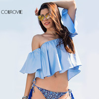 COLROVE Blue Off The Shoulder Half Sleeve Crop Top Women Cute Shirt 2016 New Style Beach