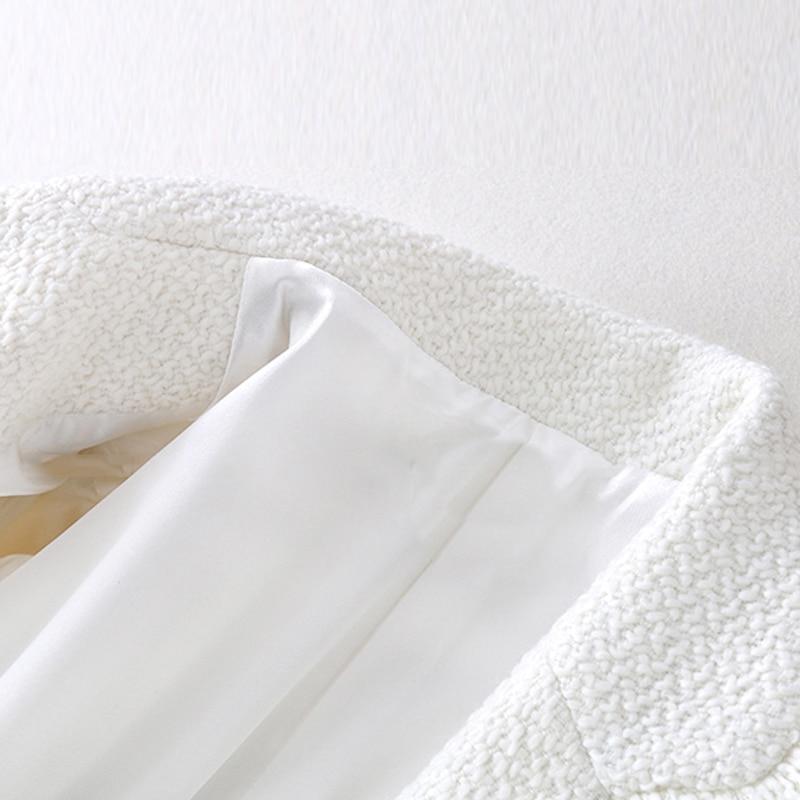 Et Automne Nouvelle Blanc De Trompette Manteau Pour Tweed Laine Femme Manches Femmes Veste D'hiver xABta