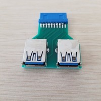 10pcs/lot Mini Motherboard 20Pin Header to 2 Port USB 3.0 Hub A Adapter Connector Female to Female for PCB Board USB Extender