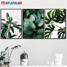 Fresh Leaves Monstera Green Plant Wall Art Canvas Painting Nordic Posters And Prints Wall Pictures For Living Room Decor green plant leaves monstera fern window wall art canvas painting nordic posters and prints wall pictures for living room decor