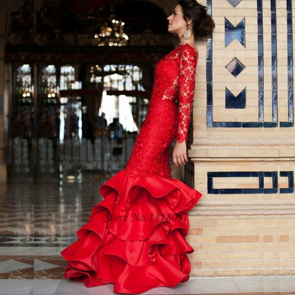7b206eca153c € 125.19 20% de DESCUENTO Vestidos de novia de encaje rojo de manga larga  Vestido de novia de sirena sin espalda tren de barrido Iglesia indio ...