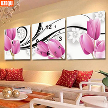 UzeQu Triptych Full Diamond Embroidery Wall Clock 5D DIY Diamond Painting Cross Stitch Tulips Flower Mosaic Rhinestones Picture
