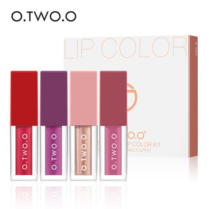 O.TWO.O 4 Colors Matte Shimmering Liquid Lip Gloss Set Long Lasting Liquid Lipstick Batom Lipgloss Lip Tint Makeup Set
