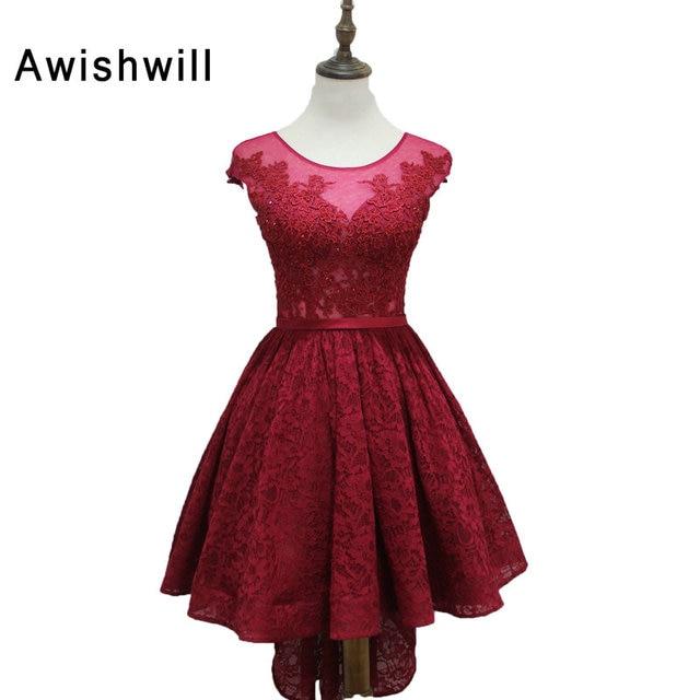 8e3eebeb3811 Real Photo Lace Elegant Burgundy High Low Evening Dresses 2019 Cap Sleeve  Party Dress Prom Dress Short Front Long Back