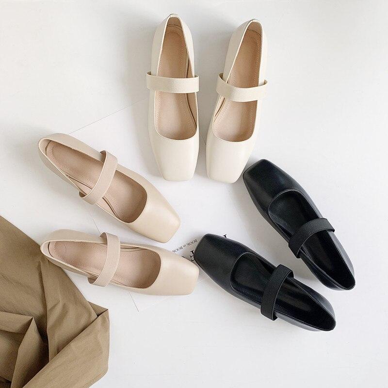 Bout Carré Beige Isnom Femmes Femme Ballerines Cuir Mary apricot 2019 Noir Chaussures Véritable Plat Nouveau noir En Printemps Jane 0Nwvmn8