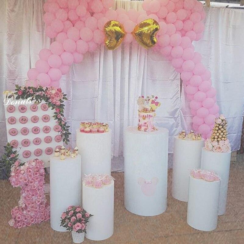 Acrylique ronde plinthe rose or blanc clair cylindre affichage piédestal Riser fête vacances bricolage décorations Support personnaliser 1 pièces