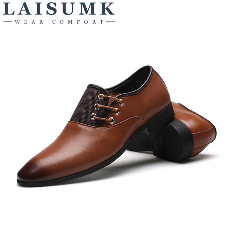 2019 LAISUMK Autumn New Arrival Men Business Dress Shoes Men Shoes Men Loafers Fashion Style in Men 39 s Casual Shoes from Shoes