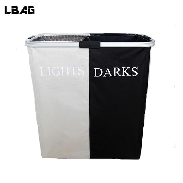 Blanc noir panier à linge panier avec métal tube panier de rangement en  tissu imperméable Oxford 349de42c9c0