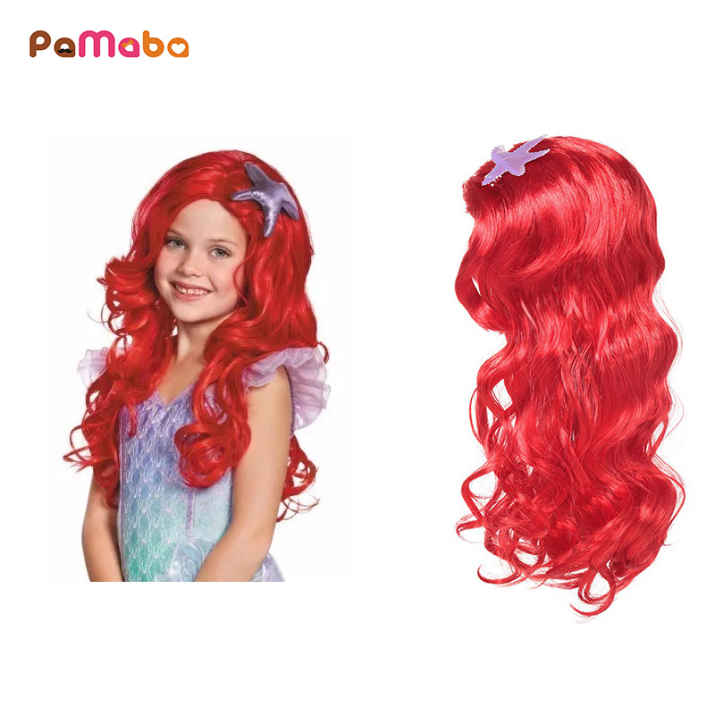 PaMaBa Children Comic Con Cosplay Equipment Accessories Girls Mermaid Wig Halloween Princess Dress up Human Hair Party Supplies girls fairy tale princess synthetic wavy wig children elsa belle rapunzel moana aurora anna mermaid party braid cosplay hair wig