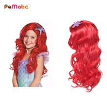 PaMaBa Children Comic Con Cosplay Equipment Accessories Girls Mermaid Wig Halloween Princess Dress up Human Hair Party Supplies(China)