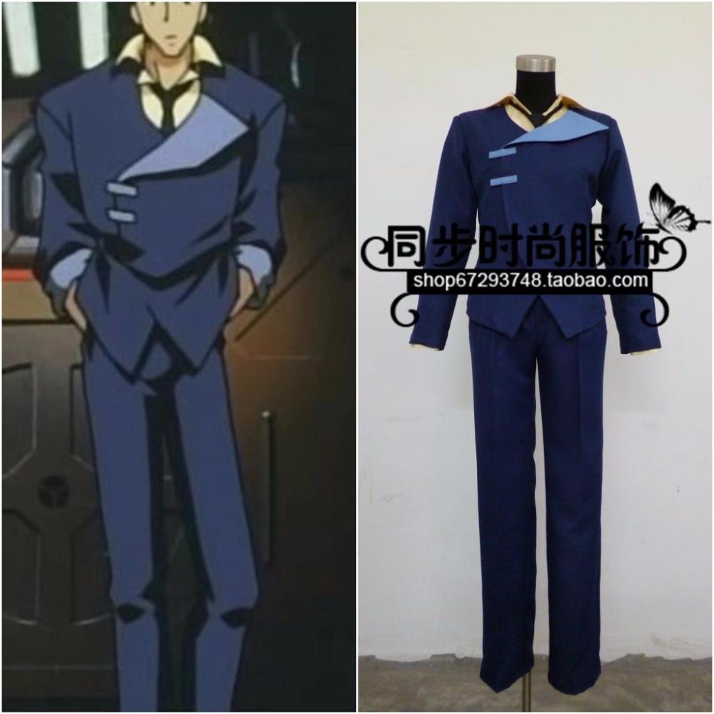 Free shipping Hot Anime Cowboy Bebop cosplay Spike Spiegel cos Halloween costume full set(coat+shirt+pants+tie)
