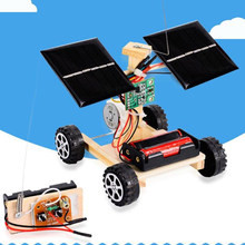 Assembly Rc Toys Diy Mini Wooden Car Wireless Remote Control Vehicle Model Diy Solar Car Kids Toy Science Educational Toy(China)