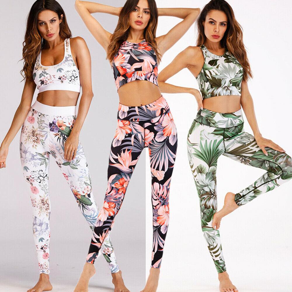Hirigin 2019 Brand New UK Verão Das Senhoras Das Mulheres Menina Floral Roupas Bra + Calças Ginásio de Esportes Correndo Aptidão Leggings Esportivos conjunto