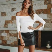 Autumn  off shoulder top shirts hot sale long sleeve solid short t-shirts for women clothing 2019 fashion Sexy Tee Shirts