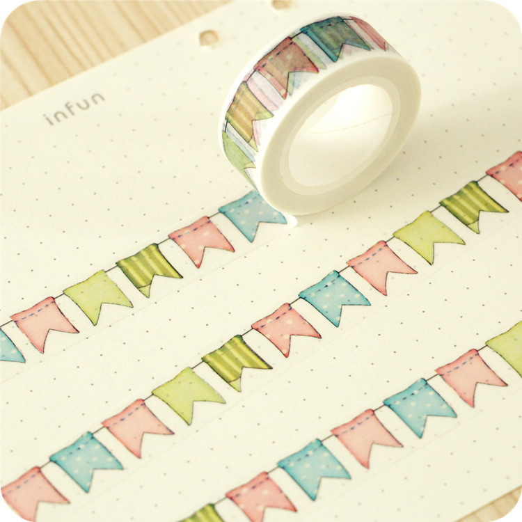 1.5cm*10m Creative Color Flag Washi Tape Masking Tape DIYdecoration Scrapbooking Sticker Label Masking Tape School Office Supply