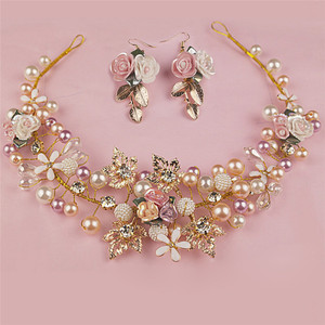 Luxury Pink Gold Pearl Bridal