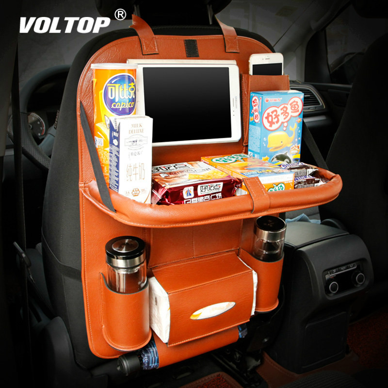 Car Organizer Folding Storage Bag Back Seat Food Tray Table Pallet Water Car Cup Holder With Multi-function Foldable Bag