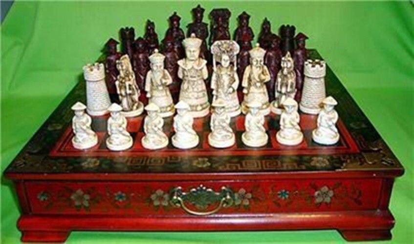 Exquis chinois Qing caractère 32 pièces jeu d'échecs et boîte en bois en cuir fleur oiseau Table