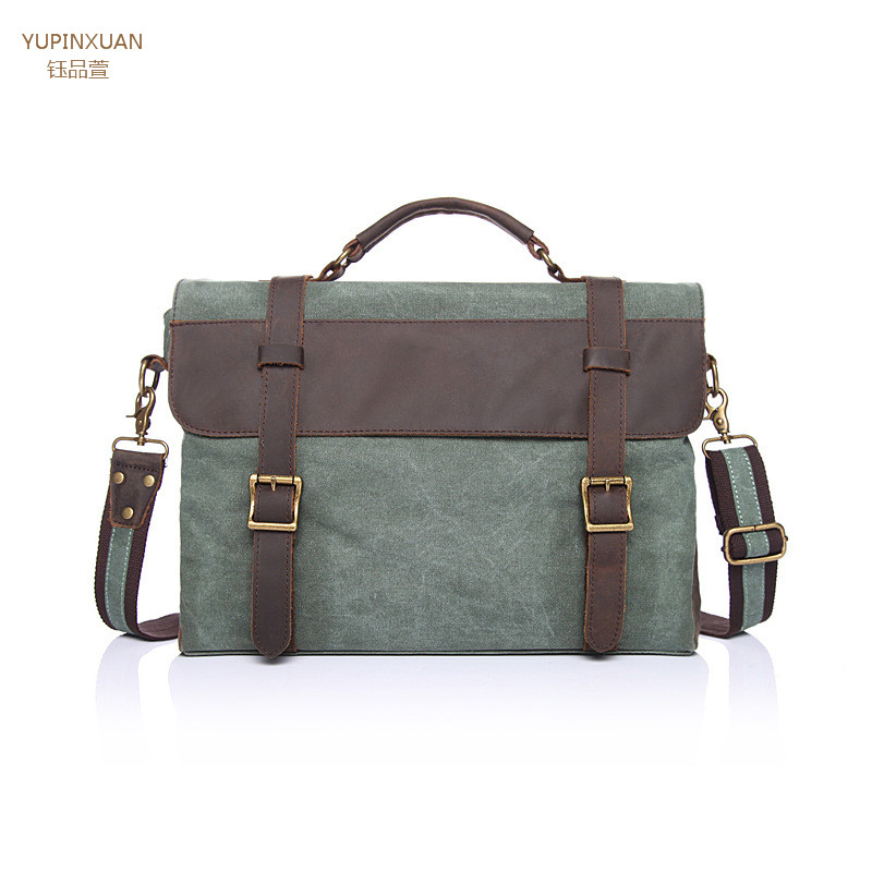 ФОТО YUPINXUAN Men's Messenger Bags Canvas Shoulder Bag Handbag Crazy Horse Leather Briefcase Retro Office Bag Handmade Bags Male