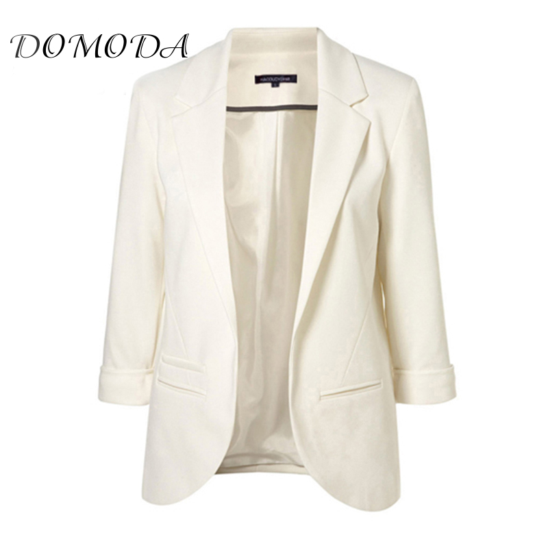 DOMODA Haoduoyi 2017 Autumn Fashion Women 7 Colors Slim Fit Blazer Jackets Notched Three Quarter Sleeve Blazer Women Coat