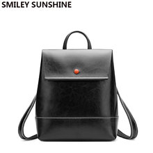 SMILEY SUNSHINE Black Genuine Leather Women Backpacks 2019 New Fashion Patent Leather Retro Female Backpack Schoolbag Back Pack(China)