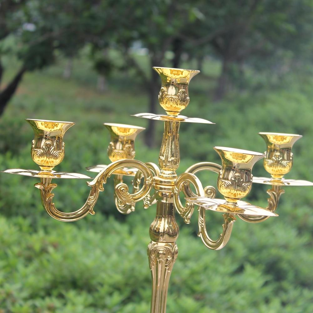 Nouvelle arrivée 83cm brillant doré candélabre pièce maîtresse, - Décor à la maison - Photo 3
