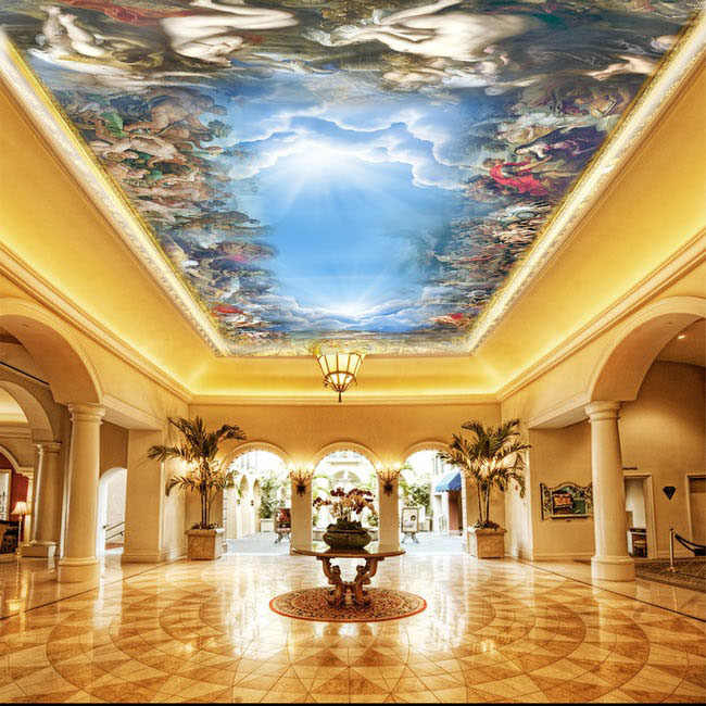 Custom 5d Ceiling Wall Papel Murals For Ceiling Hall Office