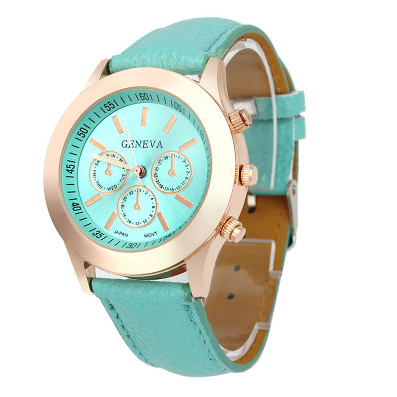 Fashion candy color women watch Unisex Casual Geneva Faux Leather Quartz Analog Wrist Watch relogio feminino Dropshipping NMB23 relojes mujer 2017 fashion women casual geneva roman leather band analog quartz wrist watch hot sale bayan saat relogio feminino
