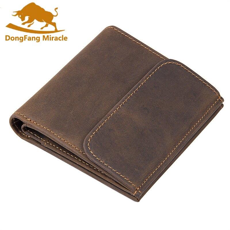 Мужские кошельки, фирменный дизайн, высокое качество, натуральная кожа, RFID кошелек, мужской, на застежке, модный, цена в долларах, кошелек для монет - Цвет: Коричневый
