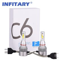 2Pcs Infitary H7 LED H4 Car Headlight 9005 9006 H3 H13 H8 9004 9007 H11 LED H1 C6 72W 7600LM 6000K Auto Light Automobile Bulbs(China)