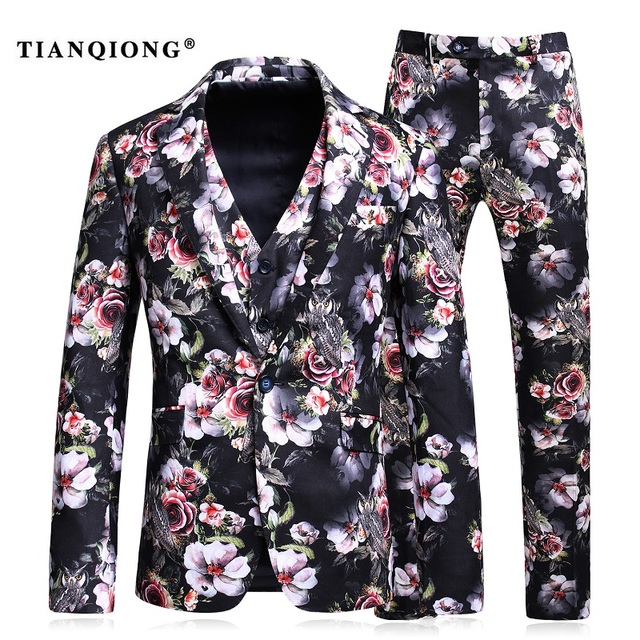 TIAN QIONG Burgundy Men Suit Printed Floral Patterns Designer Suit ...