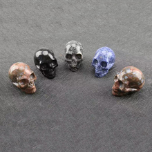Natural carved skull crystal gem art collection or home decoration 7 pieces 25mm accessories