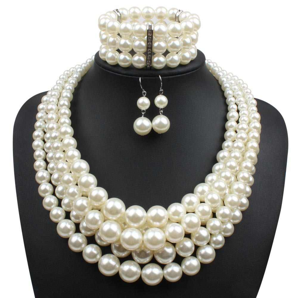 Fashion Exaggerated Pearl Strand Necklace Earrings Bracelet Beaded 3 Bohemian Multilayer Crystal Pearl Jewelry Sets Women