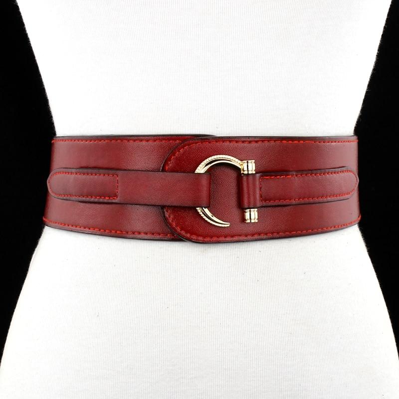 Lady Fashion Leather Belt Female Simple Genuine Leather Wide Waistbelt Students Leisure Dress Down Jacket Waistband B-9055