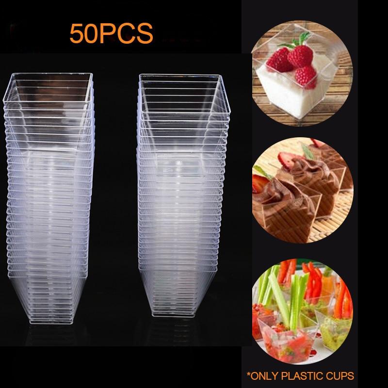 Cubo de Amostra de Plástico Prato de Sobremesa Pudim de Geléia Acessórios de Cozinha 50 Pcs 2 Oz e 60 ml Mini Praça Copo Bolo Copos Partido