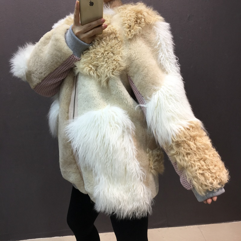 natural sheep fur coat real lamb fur (4)