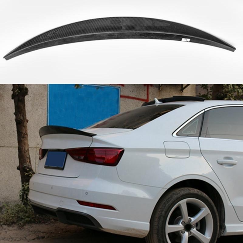 Car StyleFor Audi A3 Sedan Spoiler A3 S3 Carbon Fiber Rear Spoiler Trunk Wing Glass Black