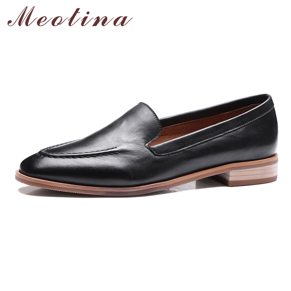 Meotina Shoes Women Oxford Genuine Leather Flats Square Toe Autumn Casual Women Flat Shoes Loafers Size 33-40 Sapato Feminino new arrival vintage autumn women flats shoes 3 colors genuine leather casual shoes women round toe flat with women s loafers