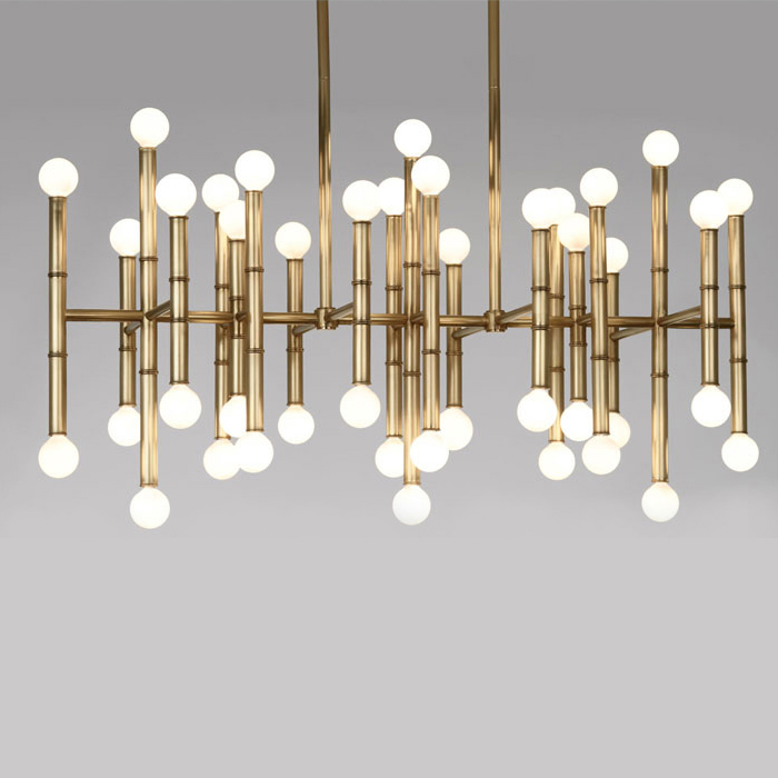 LED BUlbs Bamboo droplight Jonathan Adler Meurice pendant lamp contemporary contracted, wrought iron rectangular Chandeliers contemporary and contracted restaurant droplight aluminum pendant lamp