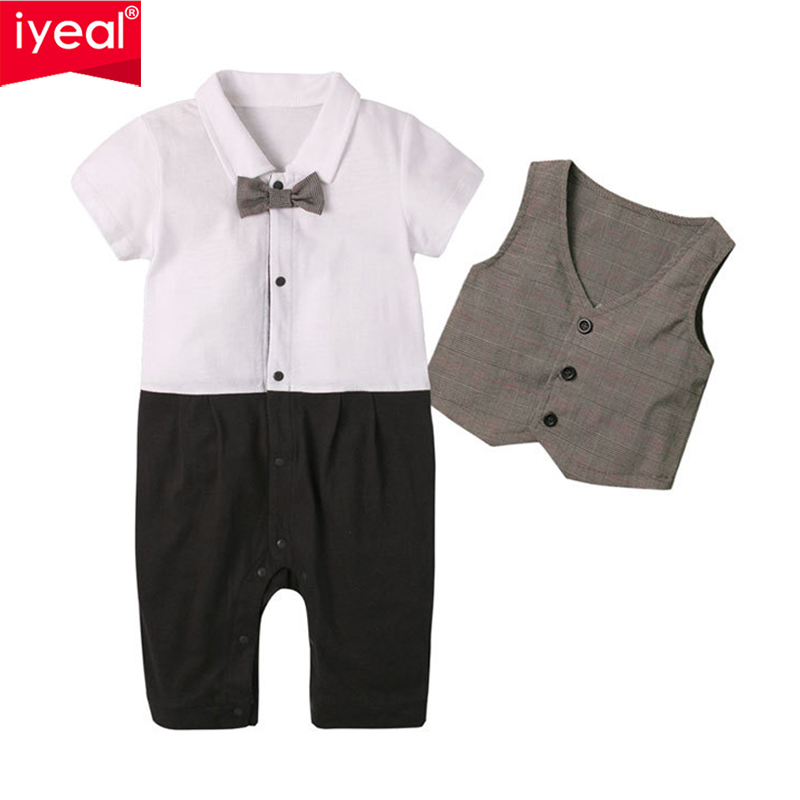 IYEAL New Fashion Summer Baby Boys Clothes Set Gentleman Style Rompers + Vest Kids Toddler Jumpsuit Suits With Tie 2 Pcs/Set